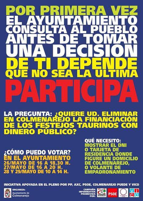 Colmenarejo rechaza la financiación municipal de los festejos taurinos