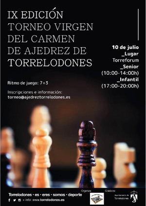 Este sábado, 10 de julio, Torrelodones acoge el IX Torneo Virgen del Carmen de Ajedrez